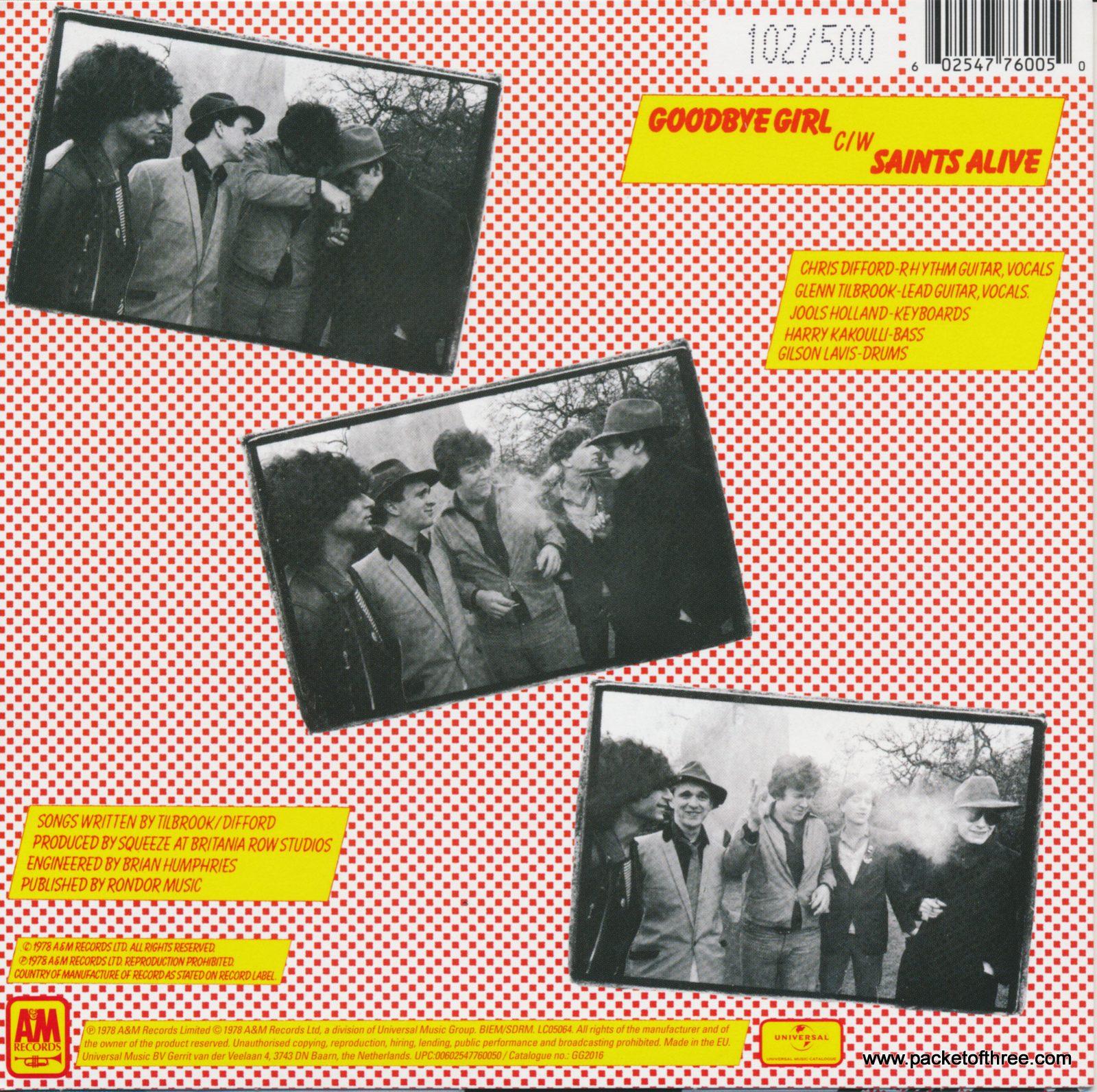 """Goodbye Girl - UK - 7"""" yellow vinyl picture sleeve"""