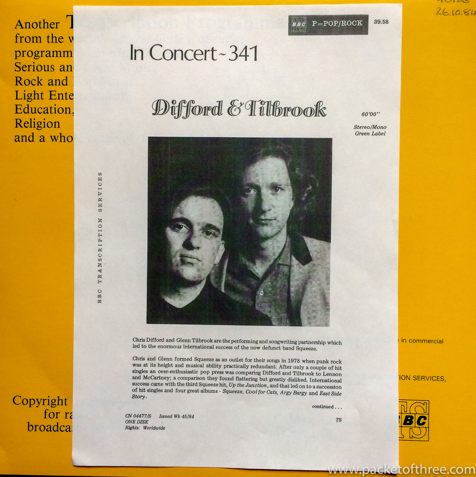 BBC In Concert 341 - Difford and Tilbrook - packetofthree