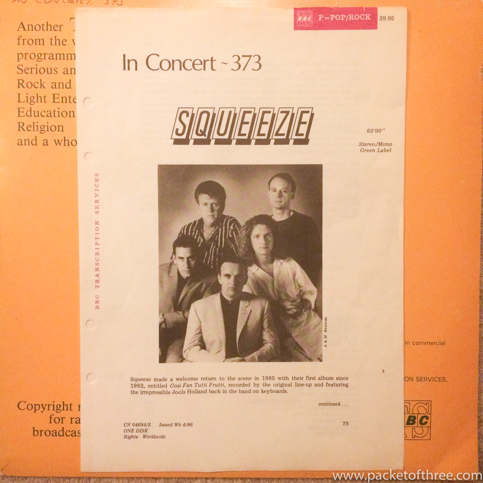 BBC In Concert 373 Hammersmith 1985 - Squeeze - packetofthree