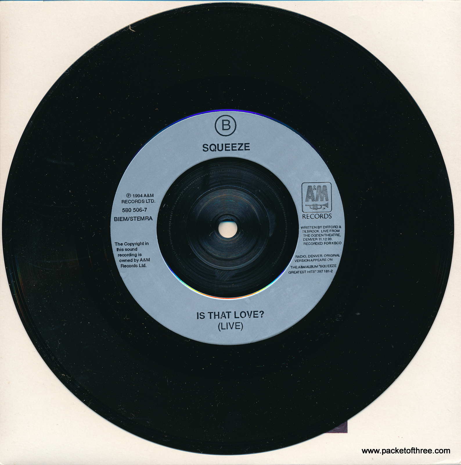 Squeeze - It's Over - UK - picture sleeve