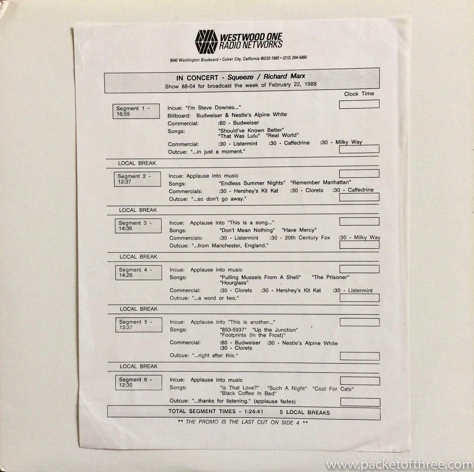 Westwood One LP 1987 - packetofthree