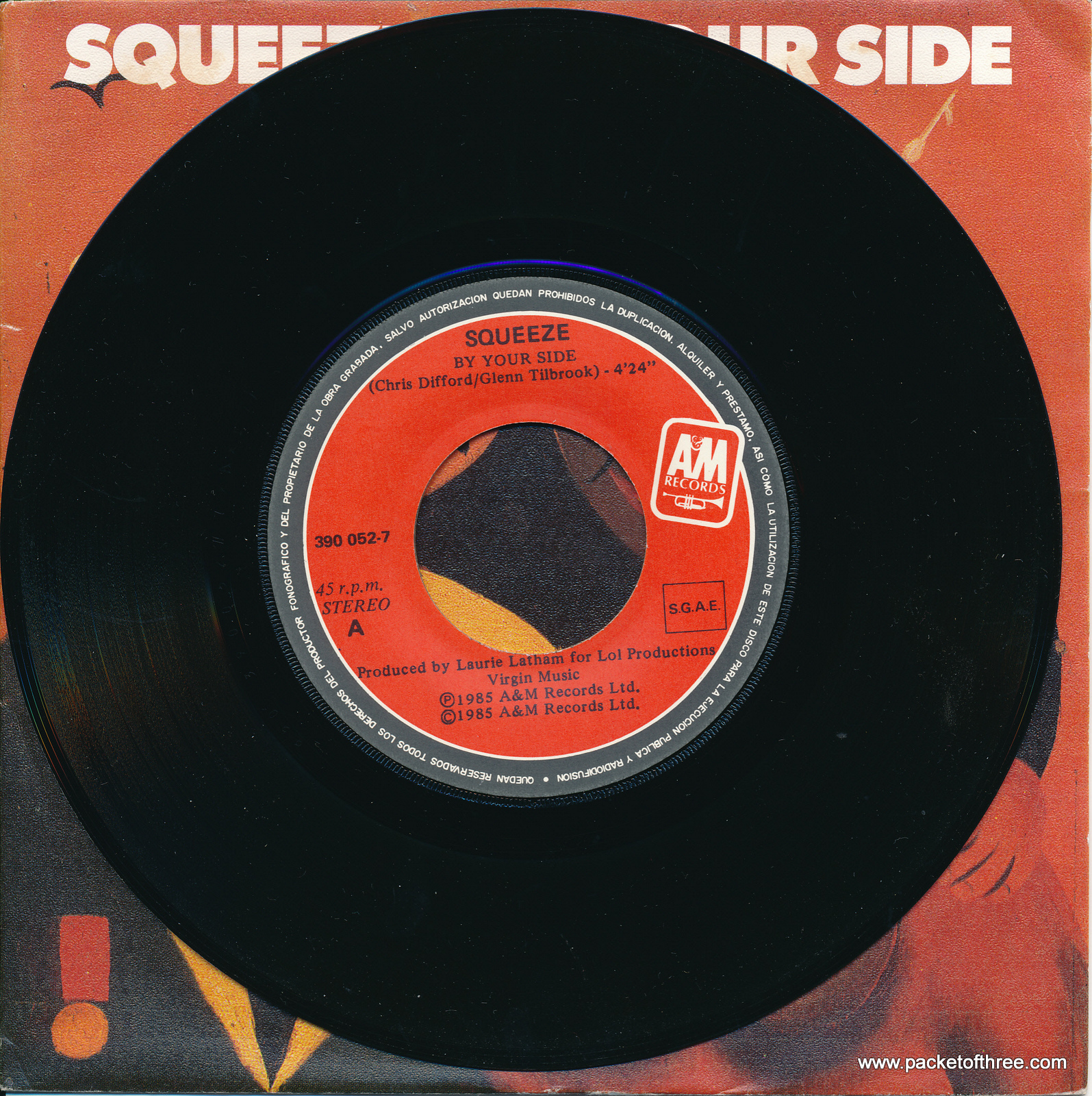 "Squeeze - By Your Side - Spain - 7"" - picture sleeve"