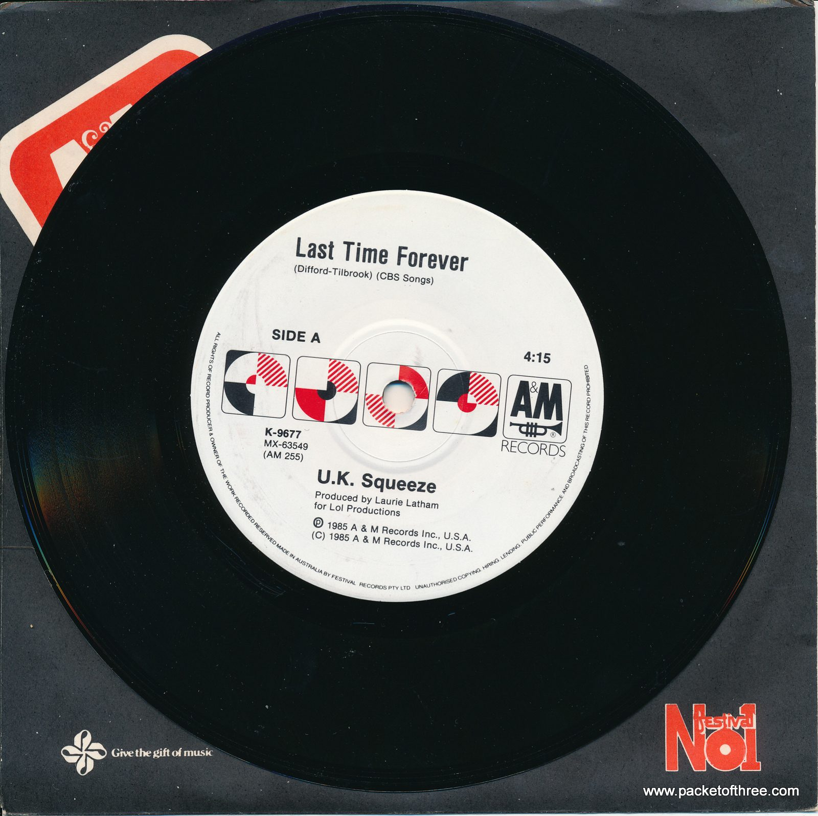 """Squeeze - Last Time Forever - Australia - 7"""""""