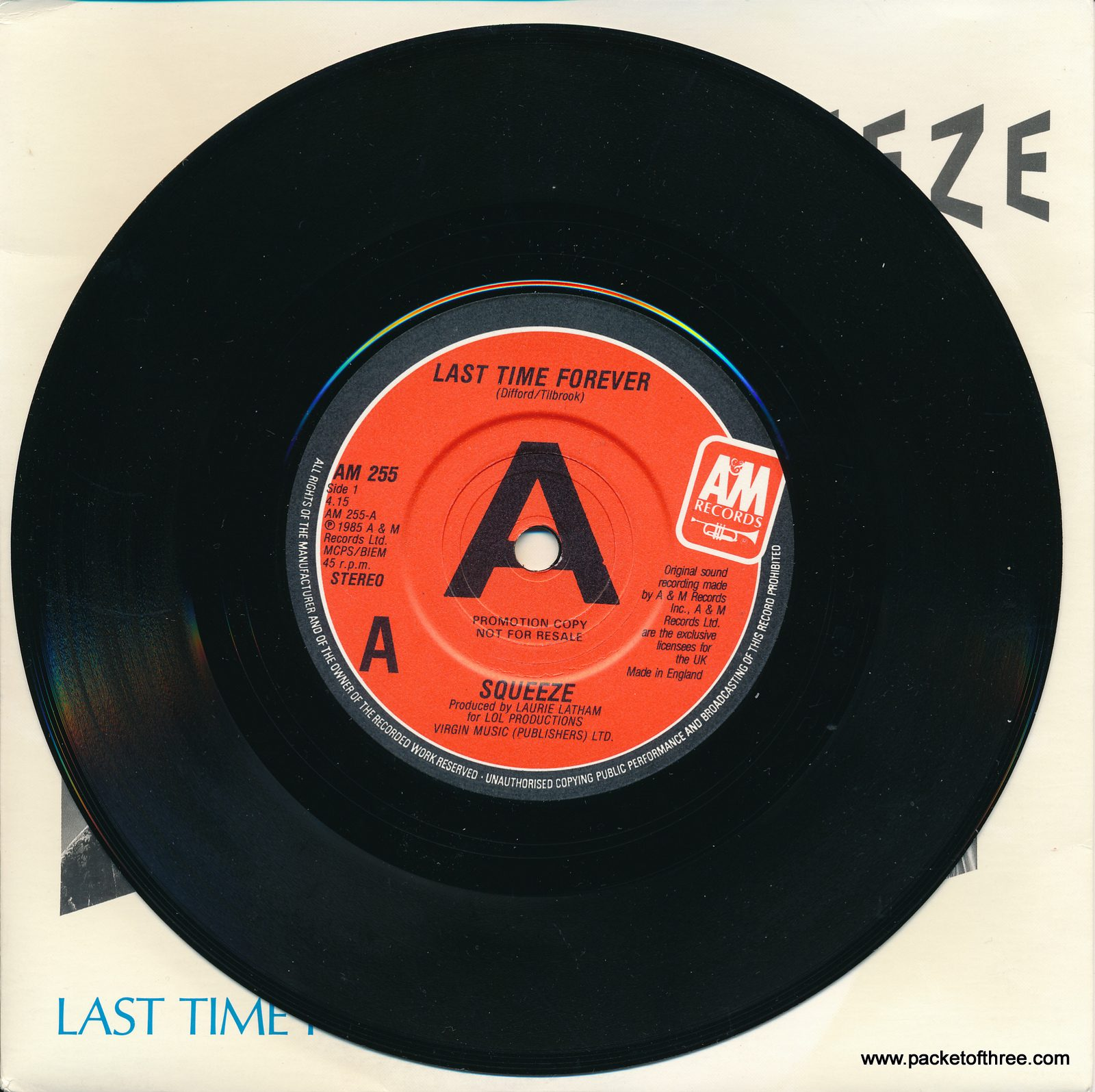 """Squeeze - Last Time Forever - UK - 7"""" - promotional copy - picture sleeve"""