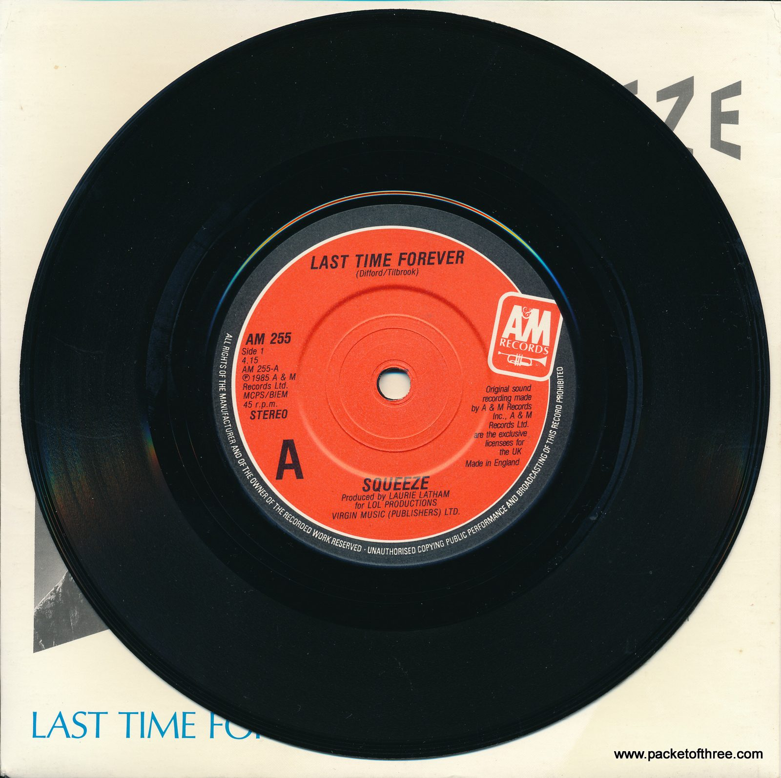 """Squeeze - Last Time Forever - UK - 7"""" - picture sleeve"""