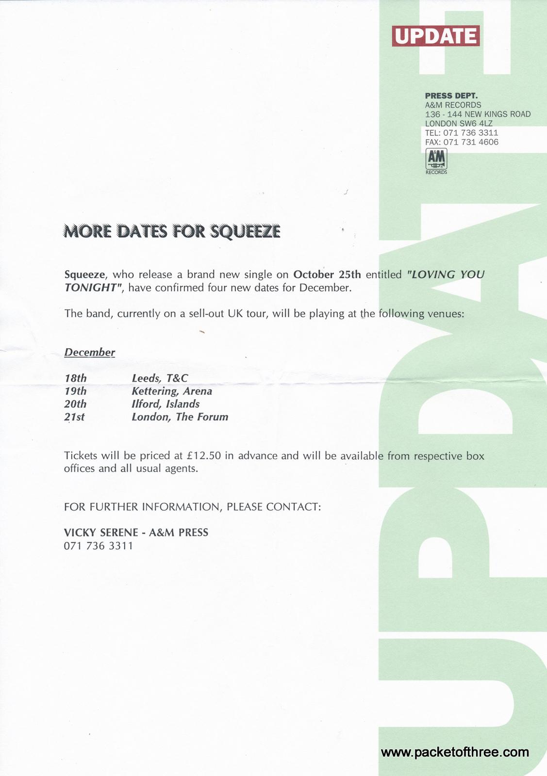 "Squeeze - Loving You Tonight UK 7"" promotional copy"