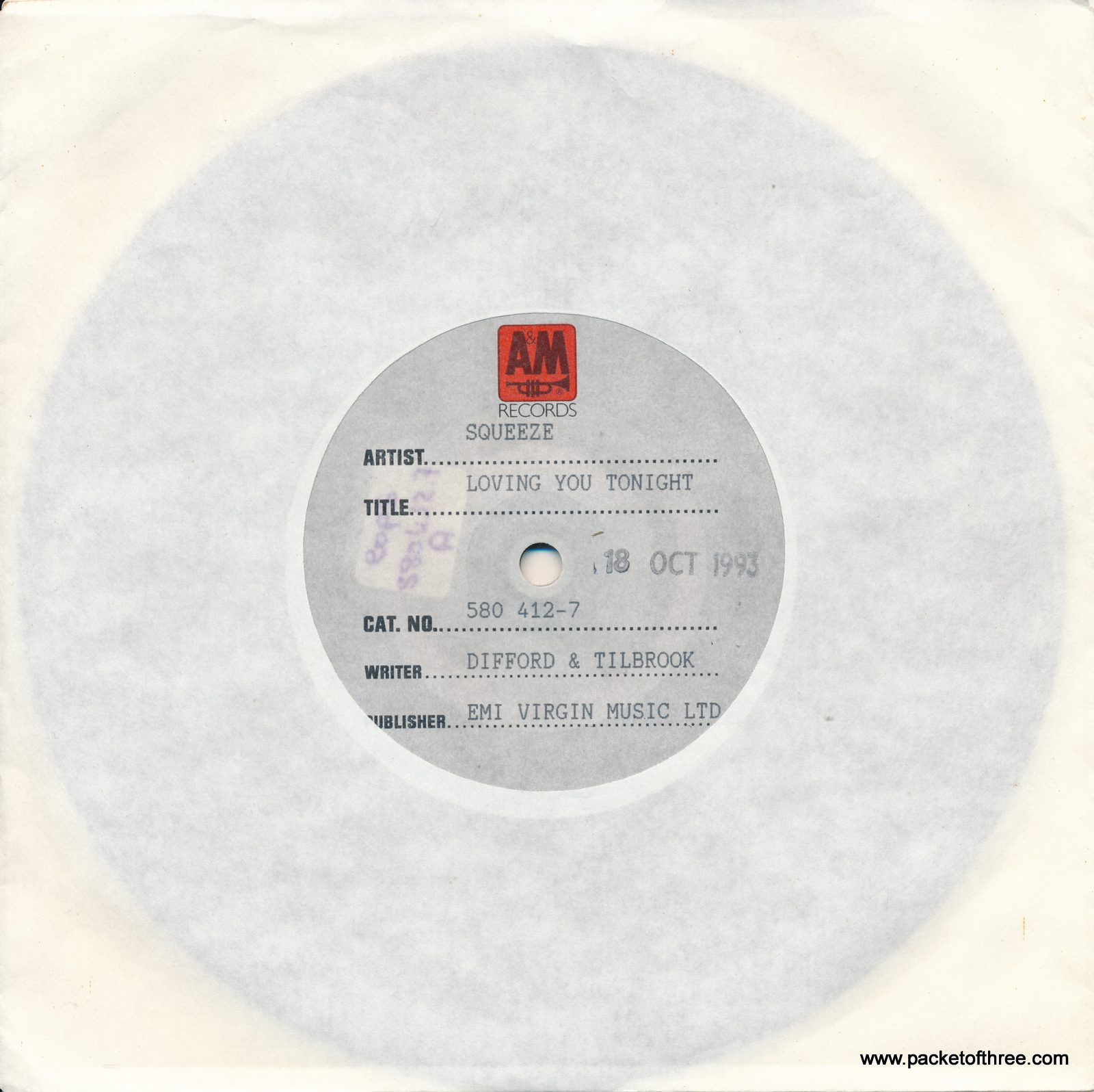 "Squeeze - Loving You Tonight UK 7"" - test pressing"