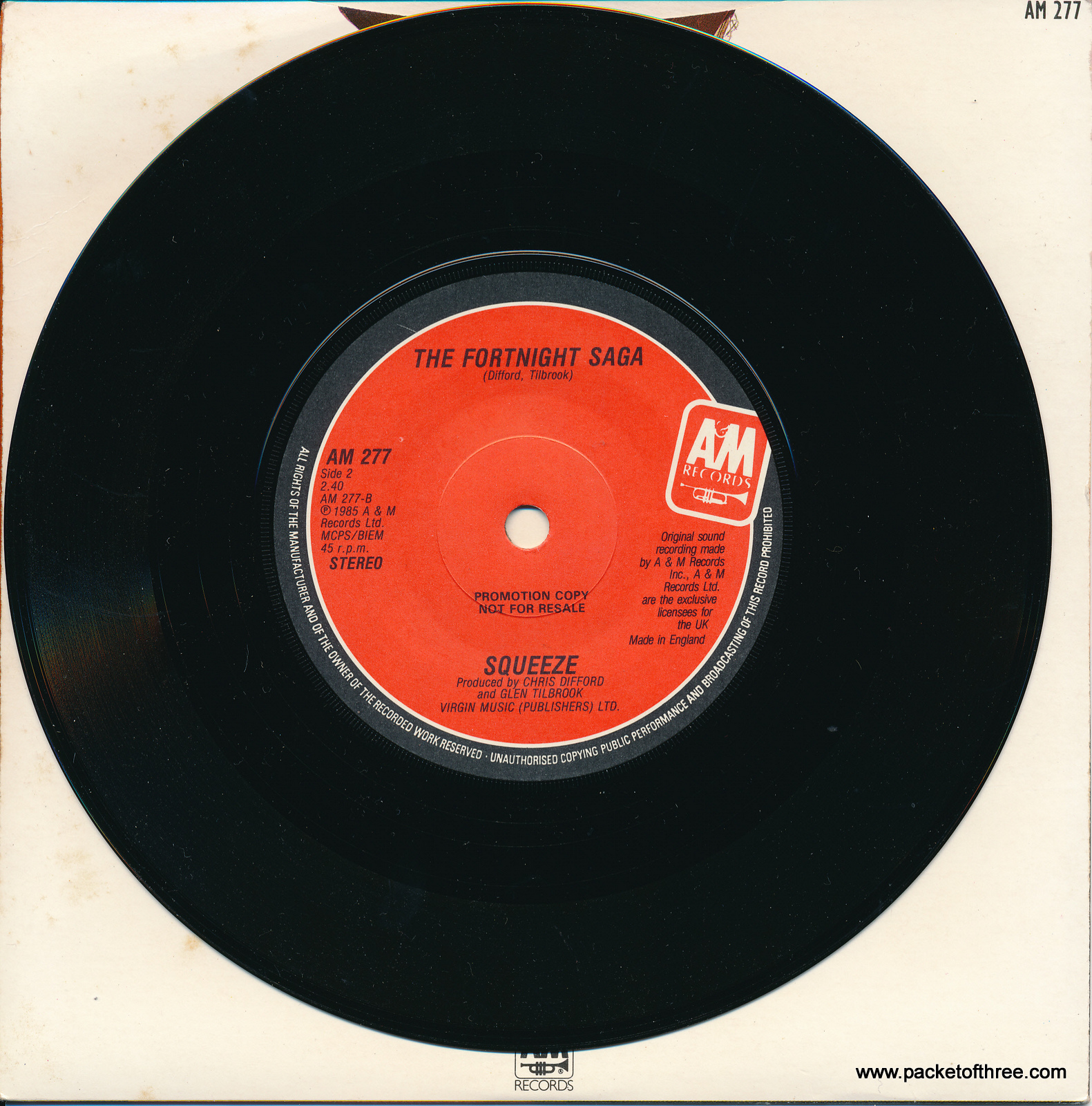 """Squeeze - No Place Like Home - UK - 7"""" - promotional copy - picture sleeve"""