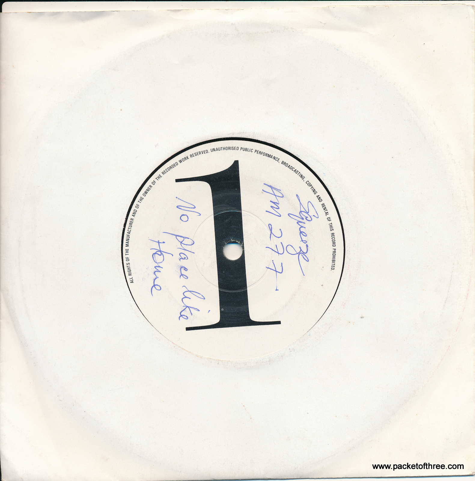 "Squeeze - No Place Like Home - UK - 7"" - white label demonstration copy"
