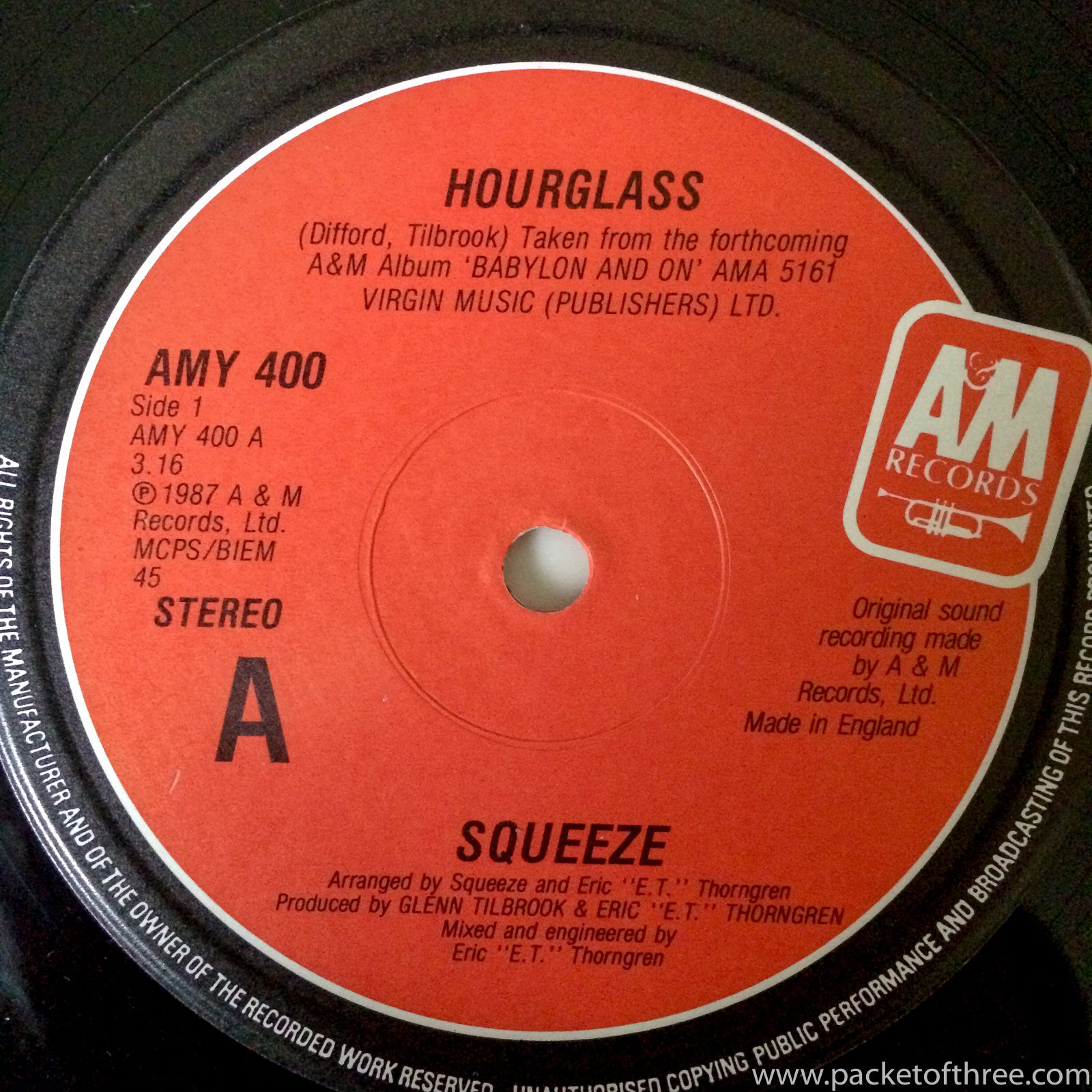 """Squeeze - Hourglass - UK - 12"""" - picture sleeve"""