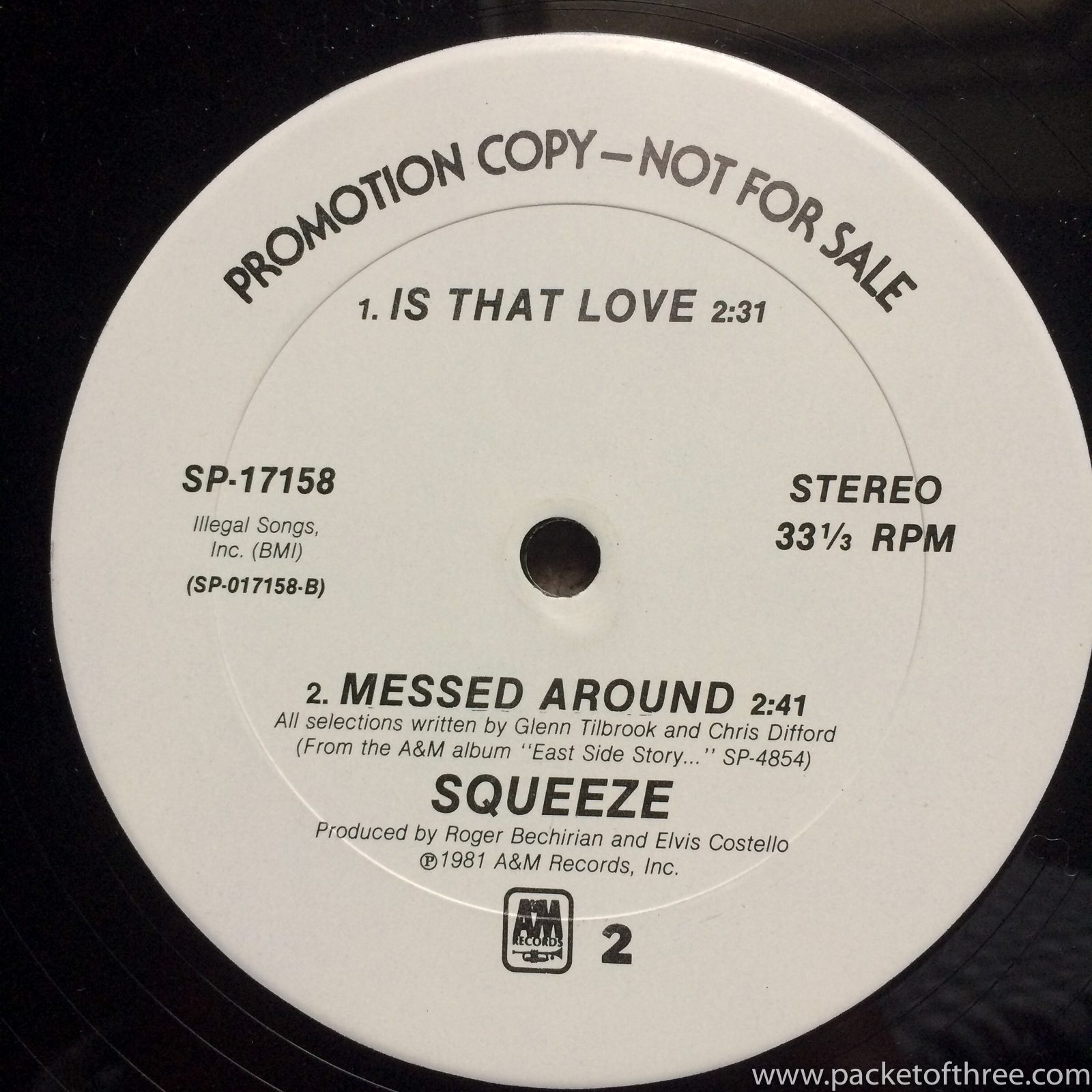 "Squeeze - Tempted - 12"" - USA promotional copy"