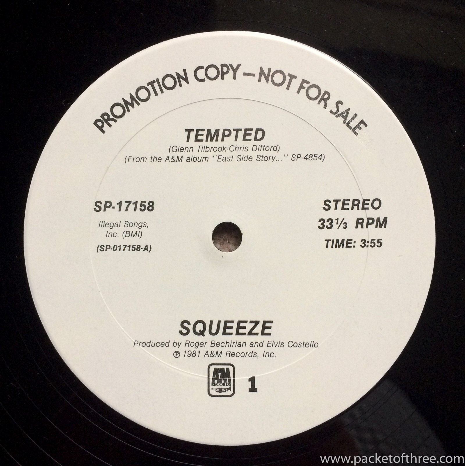 """Squeeze - Tempted - 12"""" - USA promotional copy"""