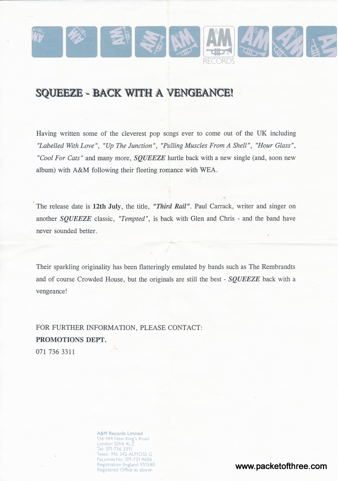 "Squeeze - Third Rail - UK - 7"" - test pressing"