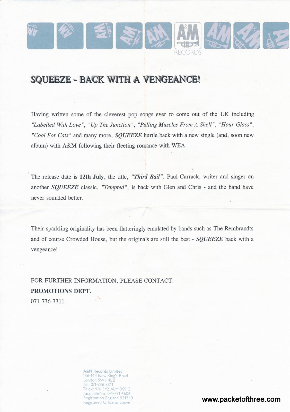 "Squeeze - Third Rail - UK - 7"" - test pressing"