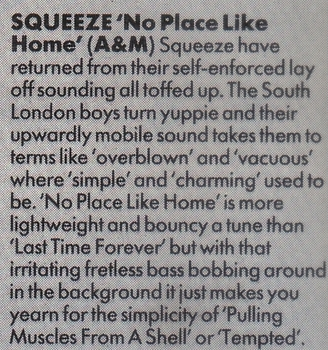 squeeze-no-place-like-home-1985-Record Mirror review by Eleanor Levy