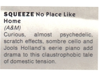 squeeze-no-place-like-home-1985-The Hit Review by Richard Lowe 21st Sept 1985